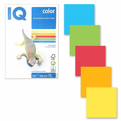 Бумага IQ color А4 160гр/м 100л 5цв Intensive Mixed Packs RB02